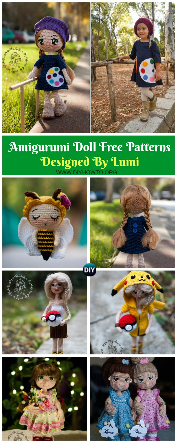 Collection of Amigurumi Doll Softies Crochet Free Patterns By Lumi: Crochet Doll Toy, Honey Bee Doll, Pekachu Doll, Piggy Doll Amigurumi CAL