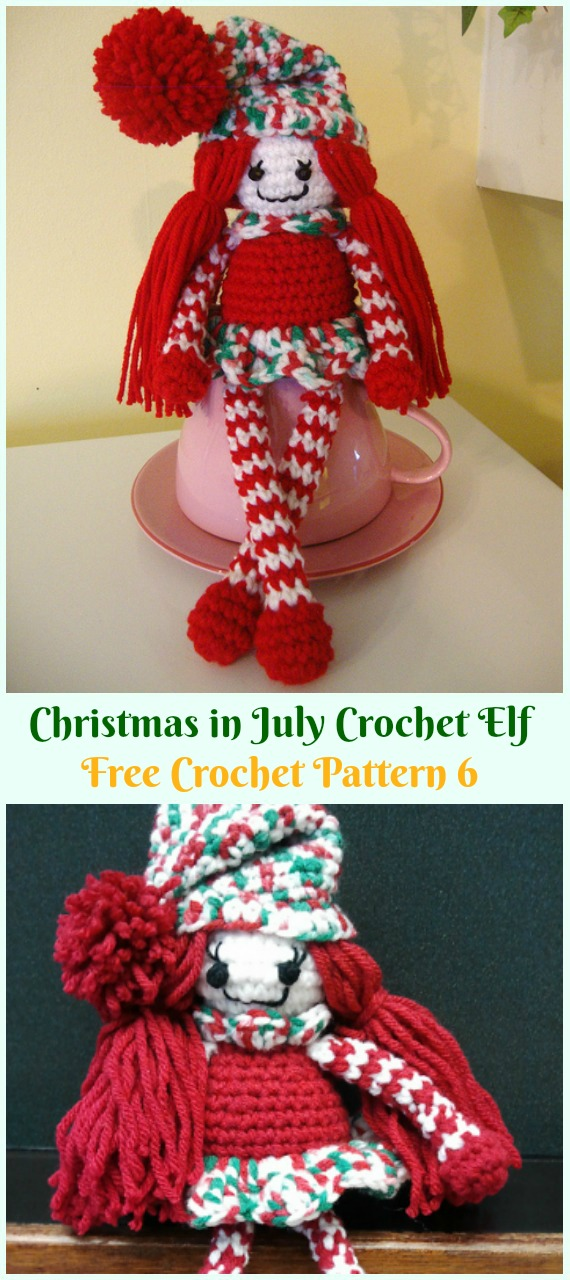 Crochet Christmas in July Crochet Elf Amigurumi Free Pattern - #Amigurumi; #Elf ; Toy Softies Crochet Free Patterns