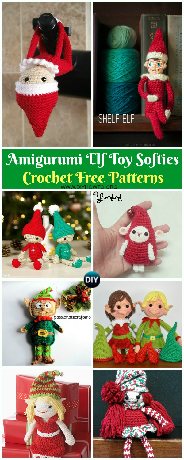 Collection of Amigurumi Elf Toy Softies Crochet Free Patterns: Crochet Christmas toys, Santa's helper toy for kids, Elf doll Amigurumi patterns free