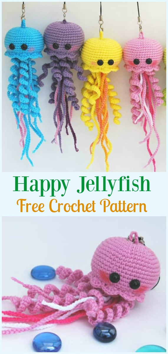 Happy Jellyfish Amigurumi Crochet Free Pattern - #Amigurumi, #Jellyfish, Toy Softies Free Crochet Patterns