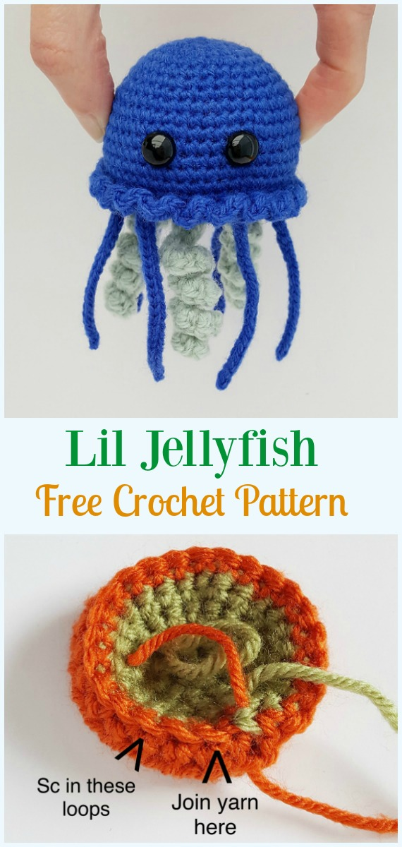Lil Jellyfish Amigurumi Crochet Free Pattern - #Amigurumi, #Jellyfish, Toy Softies Free Crochet Patterns