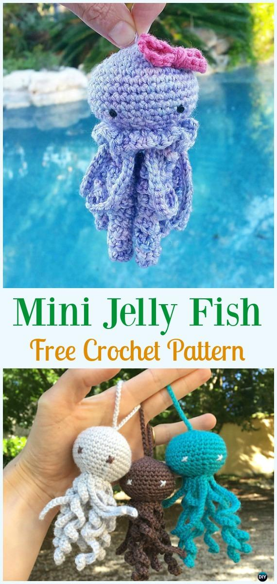 Mini Jelly Fish Amigurumi Crochet Free Pattern - #Amigurumi, #Jellyfish, Toy Softies Free Crochet Patterns