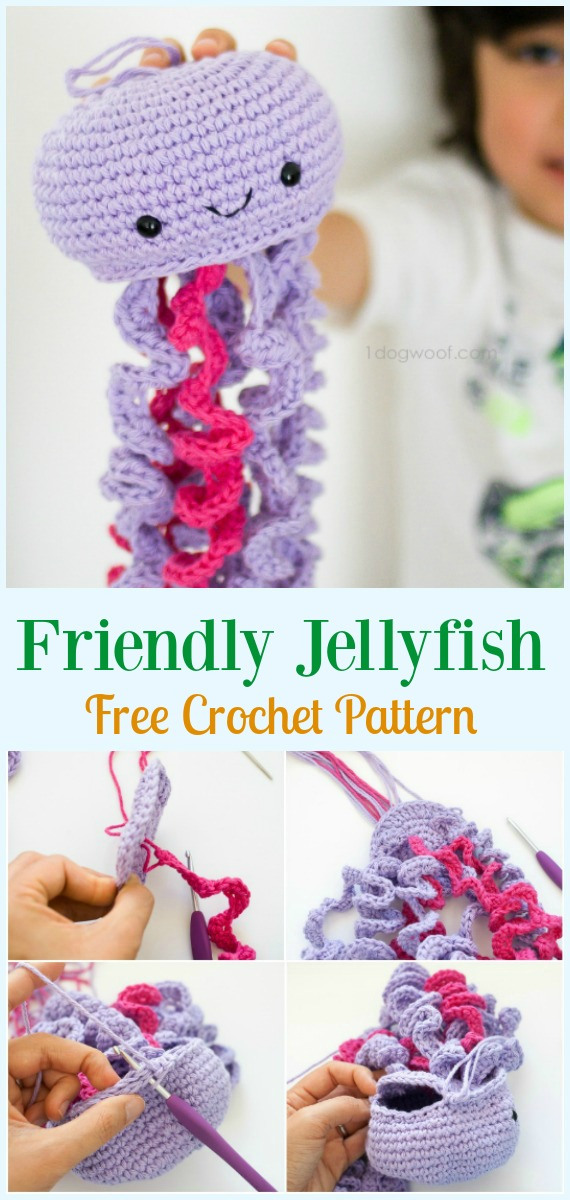 Friendly Jellyfish Amigurumi Crochet Free Pattern - #Amigurumi, #Jellyfish, Toy Softies Free Crochet Patterns