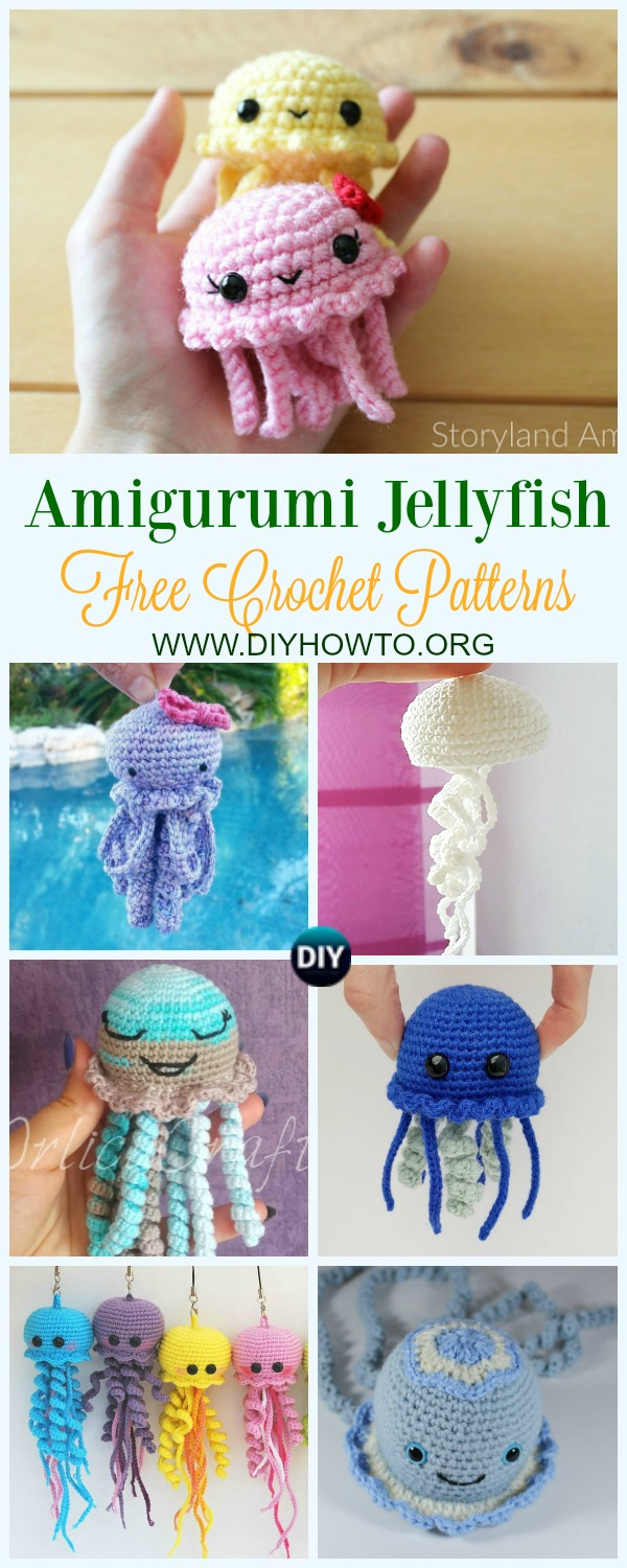 Collection of Amigurumi Jellyfish Toy Softies Free Crochet Patterns: Crochet Jellyfish Toys, Mobiles, Keychain, Mini Jellyfish, baby Jellyfish, Sea creatures