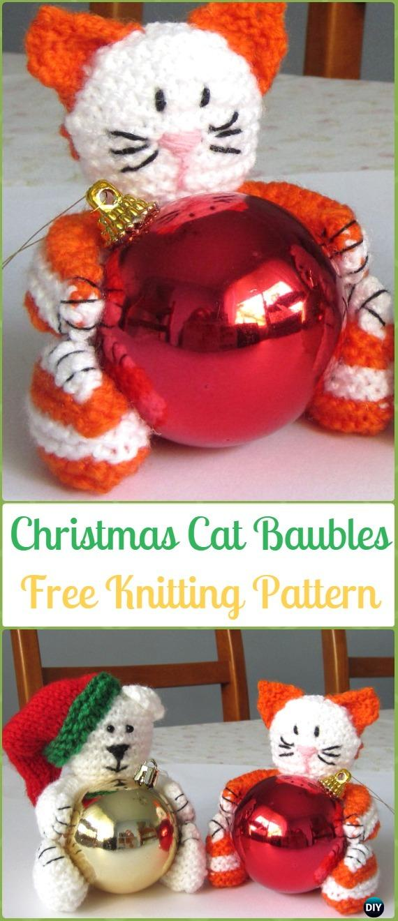 Amigurumi Christmas Cat Baubles Softies Toy Free Knitting Pattern - Knit Cat Toy Softies Patterns