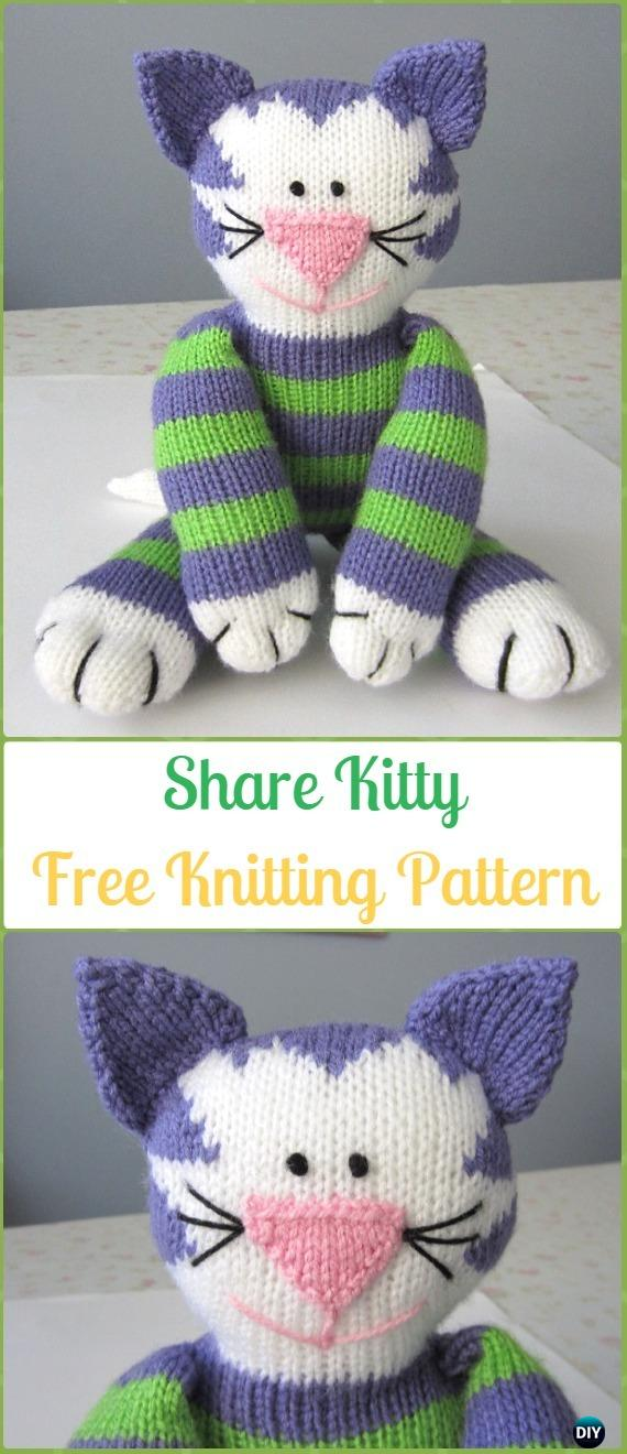 Amigurumi Share Kitty Softies Toy Free Knitting Pattern - Knit Cat Toy Softies Patterns