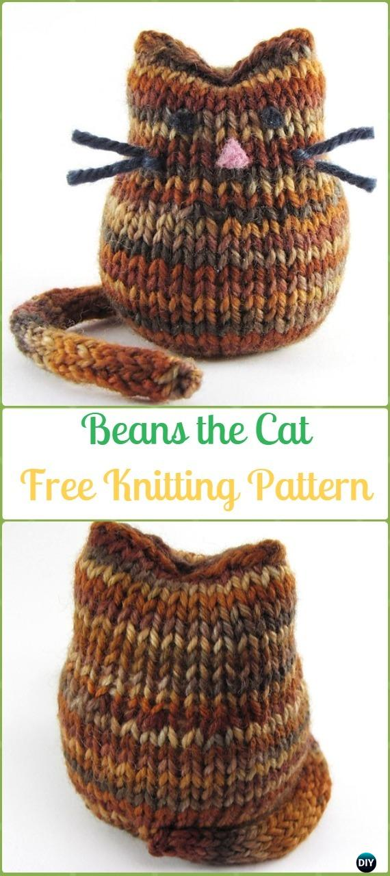 Amigurumi Beans the Cat Softies Toy Free Knitting Pattern - Knit Cat Toy Softies Patterns