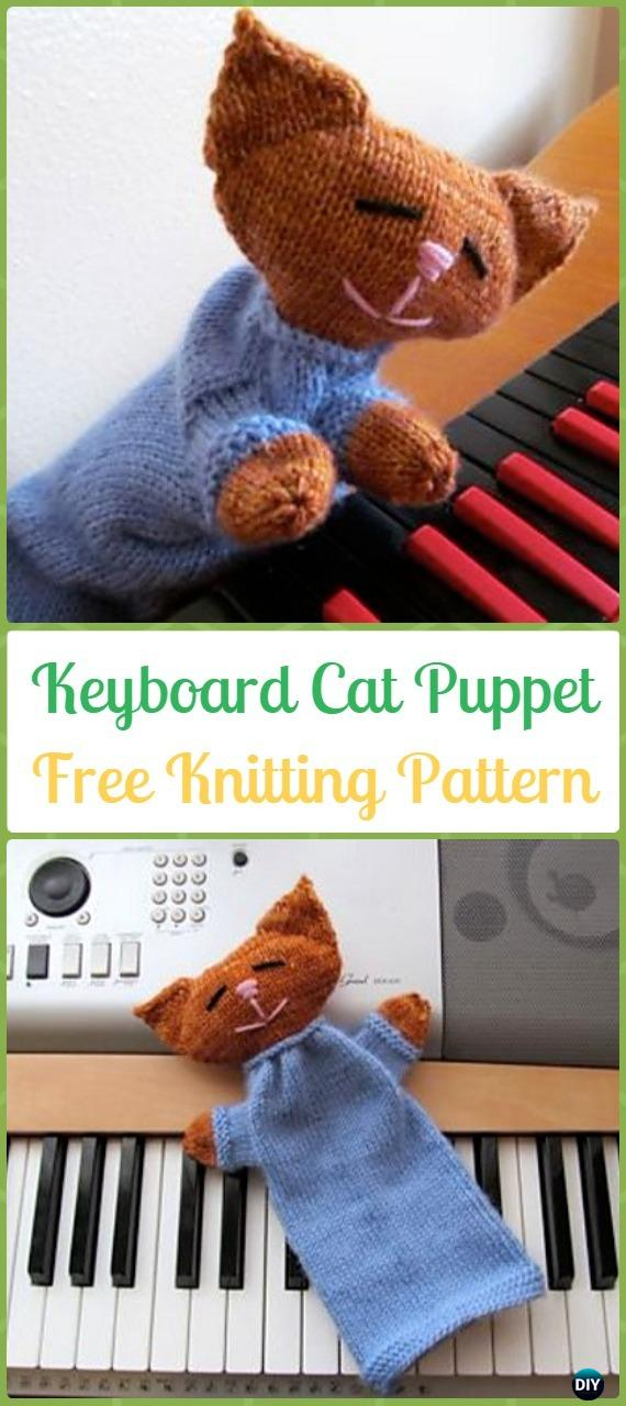 Amigurumi Keyboard Cat Puppet Softies Toy Free Knitting Pattern - Knit Cat Toy Softies Patterns