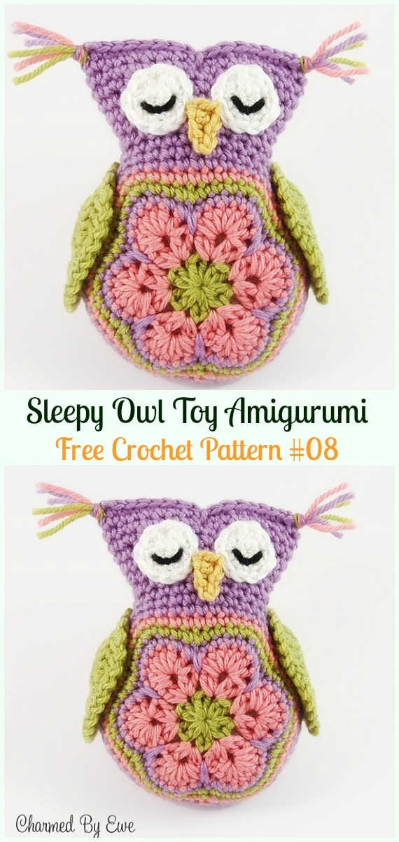 Amimigurumi African Flower Sleepy Owl Toy Crochet Free Pattern -#Amigurumi; Crochet #Owl; Toy Softies Free Patterns