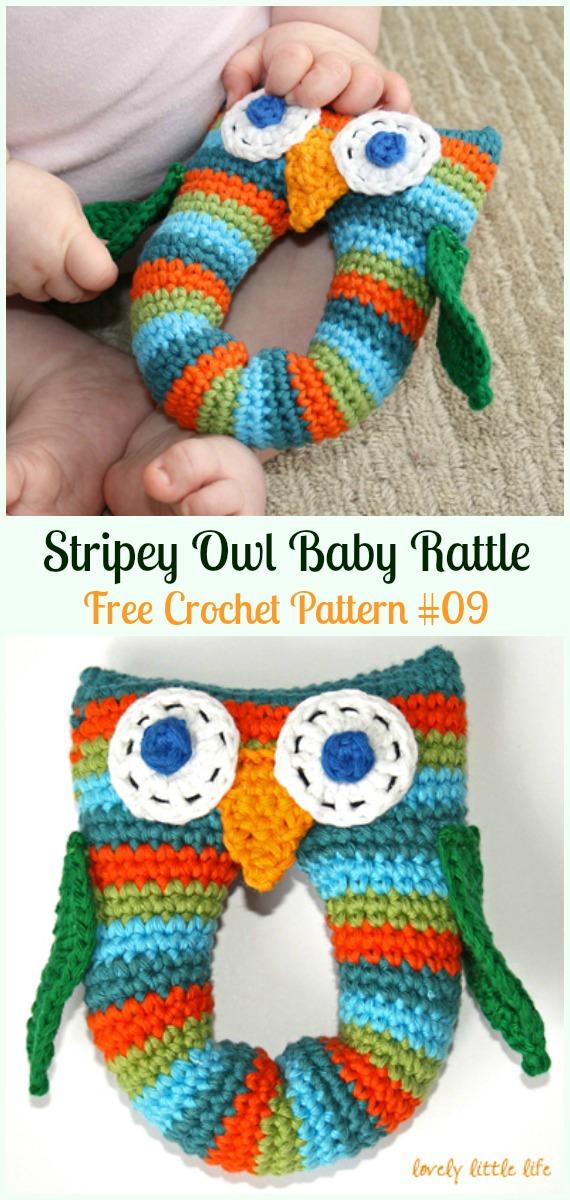 Amimigurumi Stripey Owl Baby Rattle Crochet Free Pattern -#Amigurumi; Crochet #Owl; Toy Softies Free Patterns