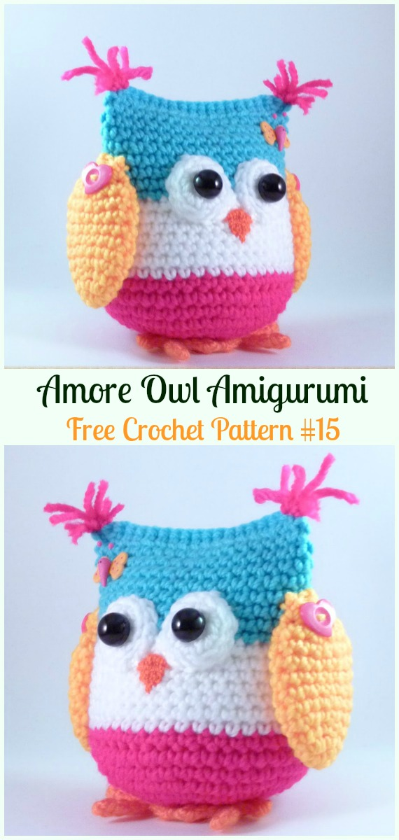 Amimigurumi Amore Owl Crochet Free Pattern - Amigurumi Owl Toy Softies Free Crochet Patterns