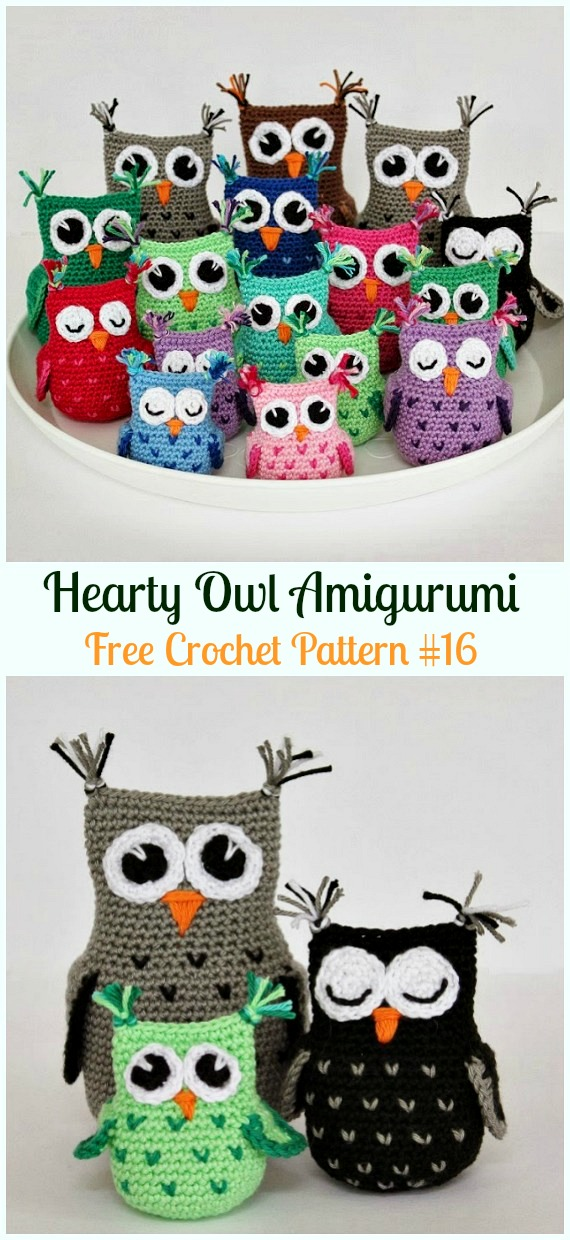 Amimigurumi Hearty Owl Crochet Free Pattern - Amigurumi Owl Toy Softies Free Crochet Patterns