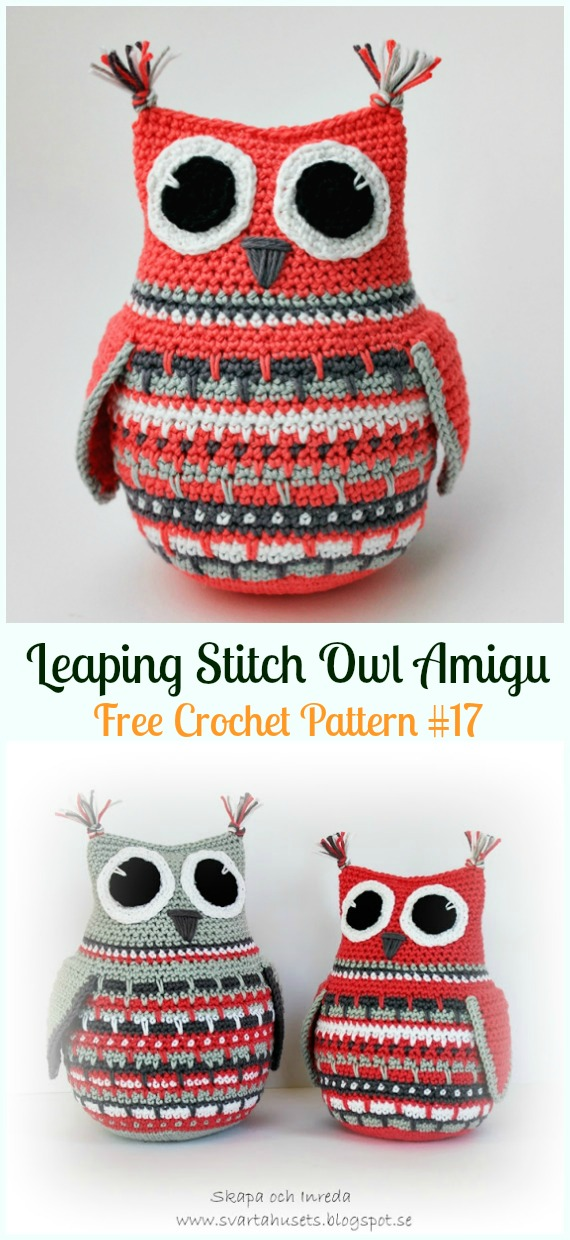 Amimigurumi Leaping Stitch Owl Crochet Free Pattern - Amigurumi Owl Toy Softies Free Crochet Patterns