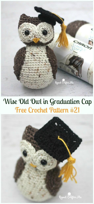 Amimigurumi Wise Old Graduation Owl Crochet Free Pattern -Amigurumi Owl Toy Softies Free Crochet Patterns