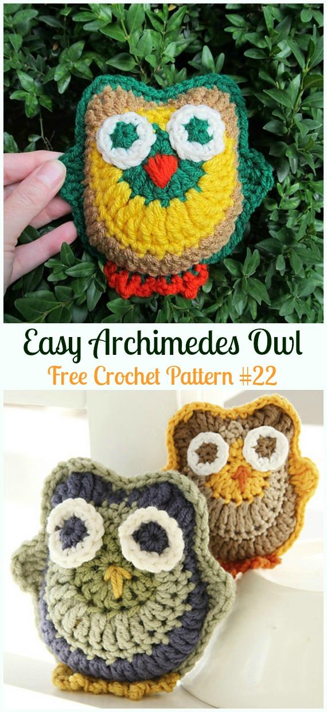 Amimigurumi Archimedes Owl Crochet Free Pattern -Amigurumi Owl Toy Softies Free Crochet Patterns