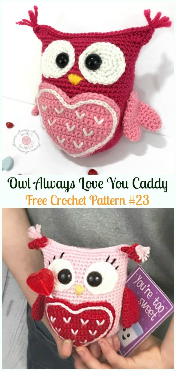 Amimigurumi Valentine Caddy OwlCrochet Free Pattern -Amigurumi Owl Toy Softies Free Crochet Patterns
