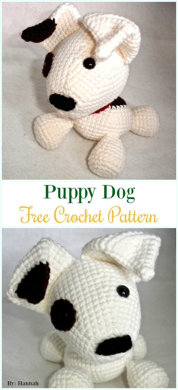 Crochet Puppy DogAmigurumi Free Pattern - #Amigurumi Puppy #Dog Stuffed Toy Crochet Patterns