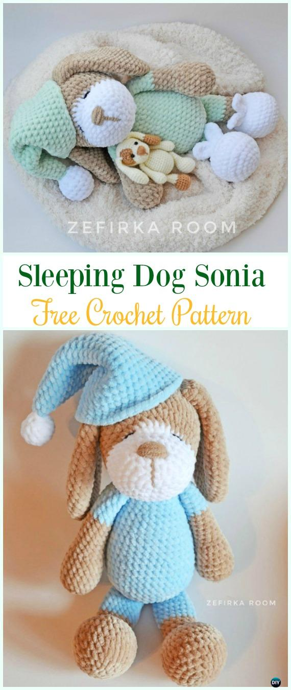 Crochet Sleeping Dog Sonia Amigurumi Free Pattern Amigurumi Puppy