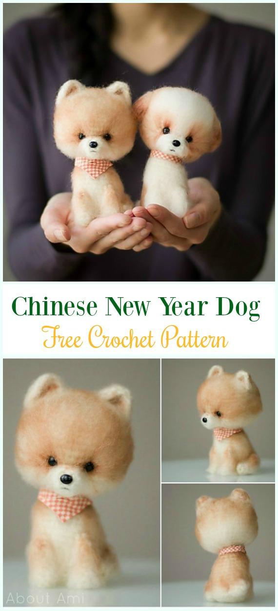 Crochet Chinese New Year DogAmigurumi Free Pattern - #Amigurumi Puppy #Dog Stuffed Toy Crochet Patterns