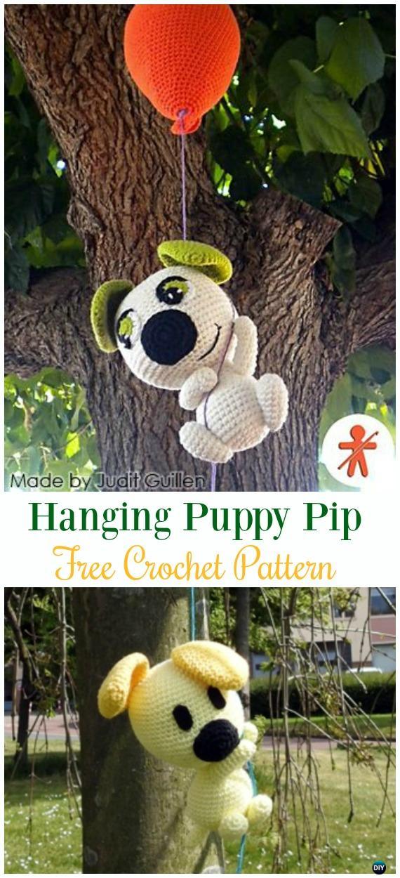 Crochet Hanging Puppy PipAmigurumi Free Pattern - #Amigurumi Puppy #Dog Stuffed Toy Crochet Patterns