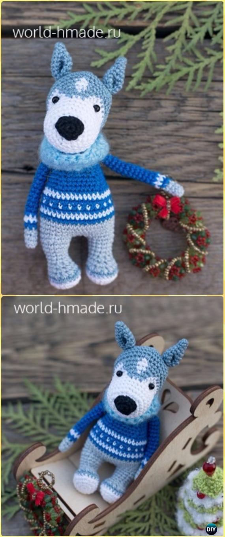 Crochet Amigurumi Dog Husky Akim Free Pattern - Amigurumi Puppy Dog Stuffed Toy Patterns