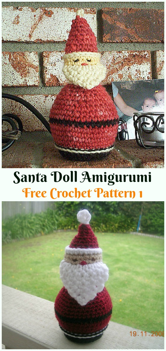 Crochet Santa Doll Amigurumi Free Pattern - #Amigurumi; #Santa; Toy Softies Crochet Free Patterns