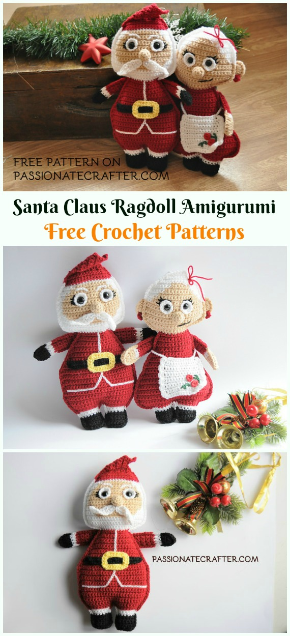 Crochet Santa Claus Ragdoll Amigurumi Free Patterns - #Amigurumi; #Santa; Toy Softies Crochet Free Patterns