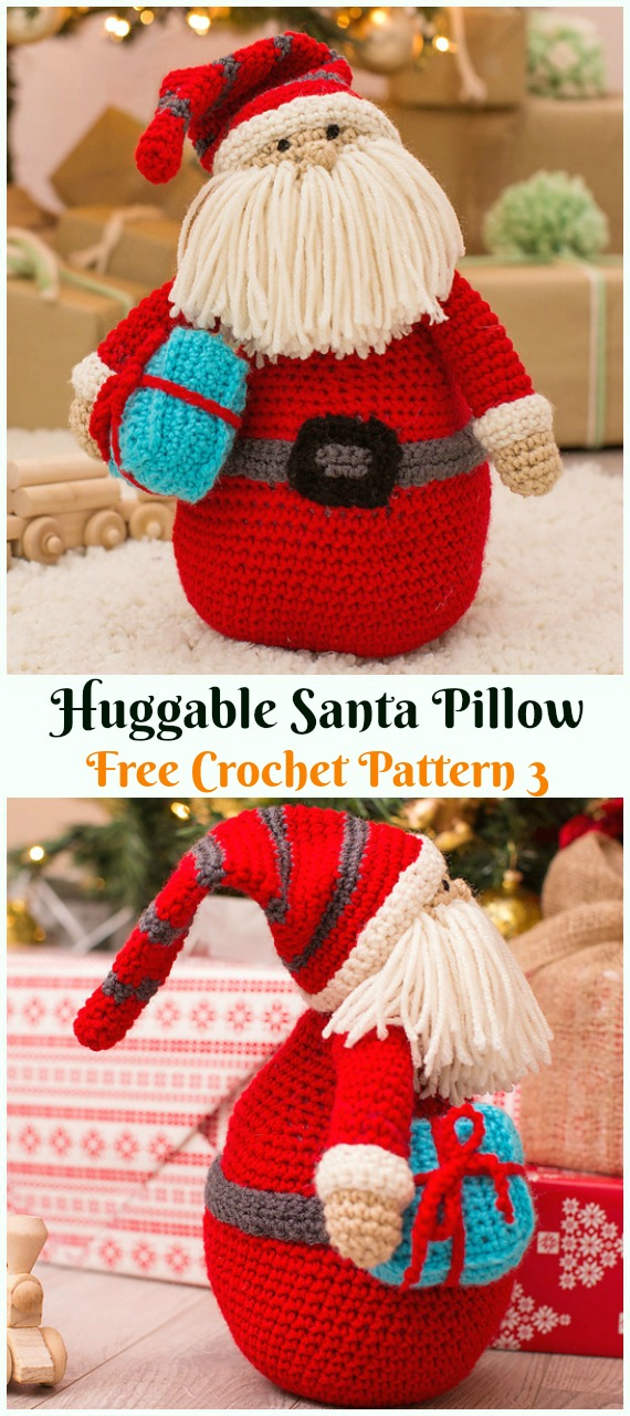 Crochet Huggable Santa Pillow Amigurumi Free Patterns - #Amigurumi; #Santa; Toy Softies Crochet Free Patterns