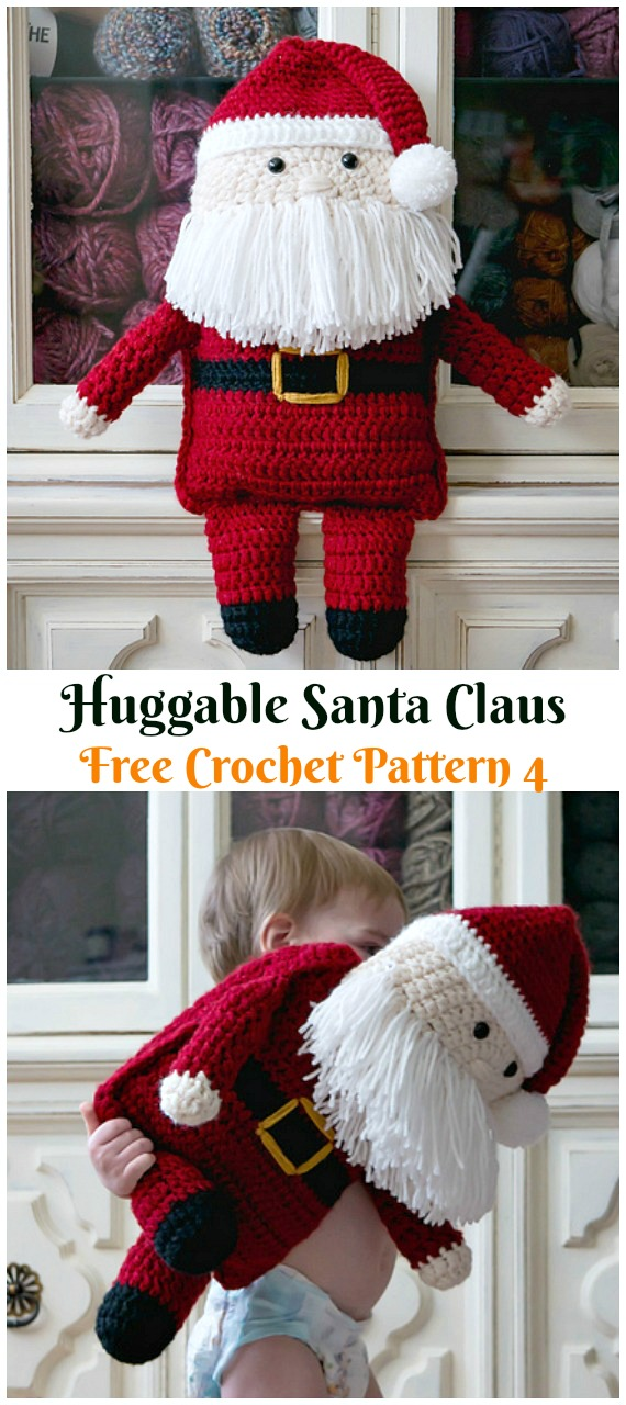 Crochet Huggable Santa Claus Amigurumi Free Patterns - #Amigurumi; #Santa; Toy Softies Crochet Free Patterns