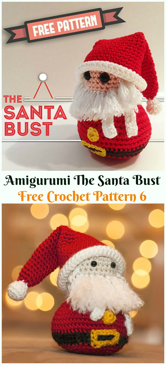 Crochet The Santa Bust Amigurumi Free Patterns - #Amigurumi; #Santa; Toy Softies Crochet Free Patterns