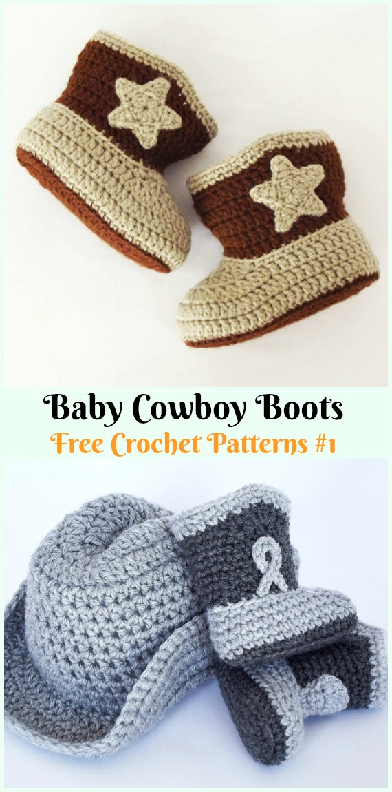 Baby Cowboy Boots Crochet Free Pattern - #Crochet; Ankle High Baby #Booties; Free Patterns