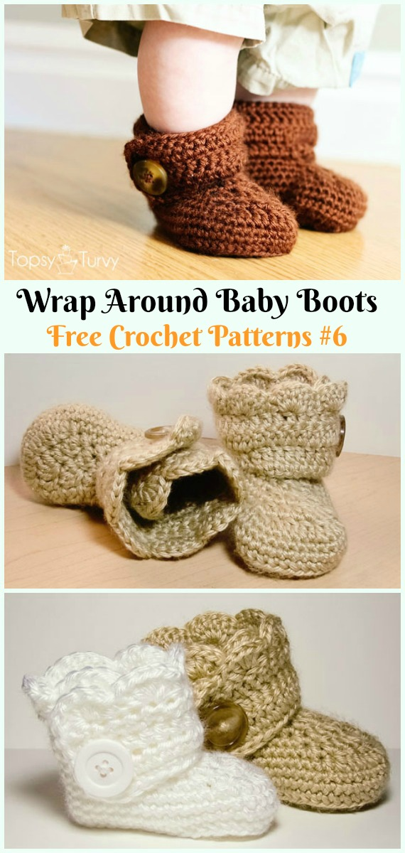 Wrap Around Baby Boots Crochet Free Pattern - #Crochet; Ankle High Baby #Booties; Free Patterns
