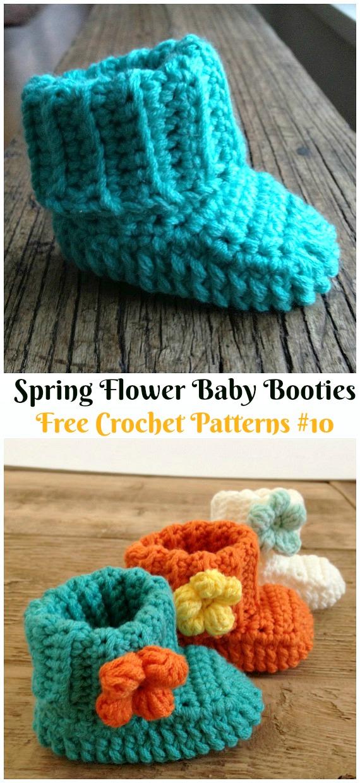 Spring Flower Baby BootiesCrochet Free Pattern - #Crochet; Ankle High Baby #Booties; Free Patterns