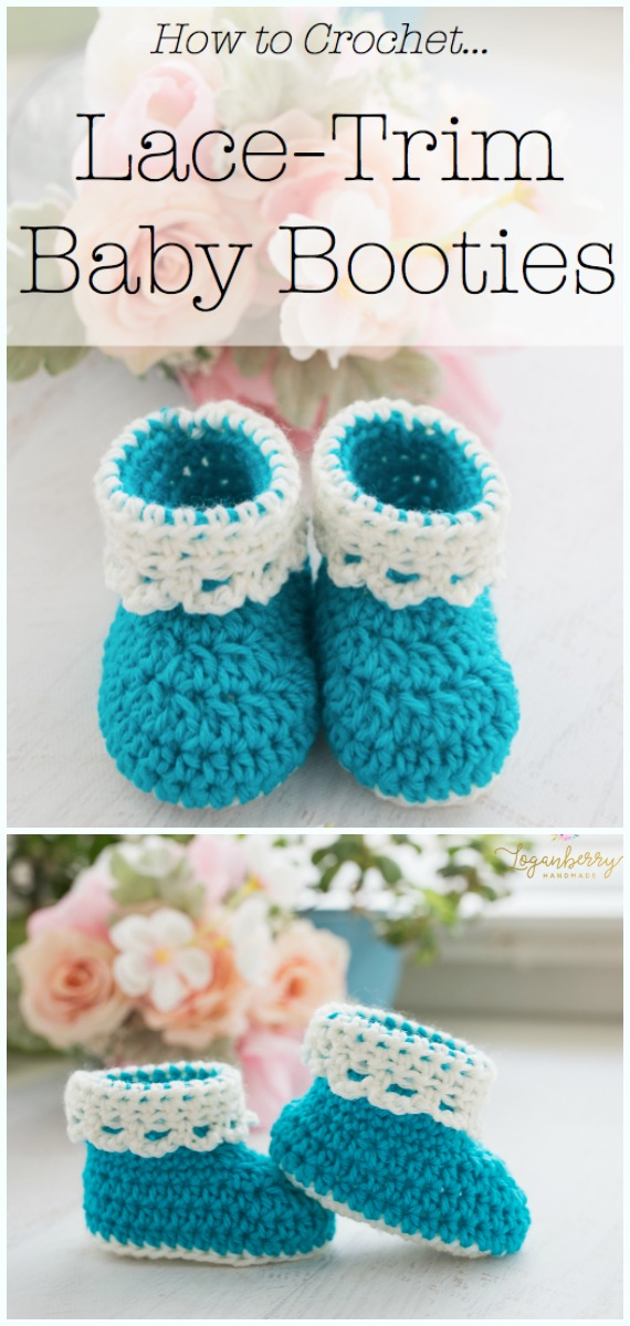 Lace-Trim Baby Booties Crochet Free Pattern - #Crochet; Ankle High Baby #Booties; Free Patterns