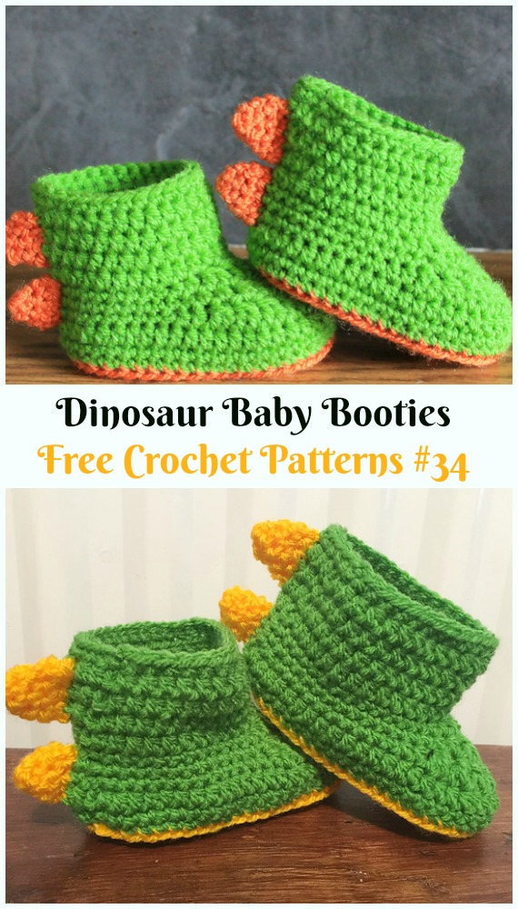 Dinosaur Baby Booties Crochet Free Pattern - #Crochet; Ankle High Baby #Booties; Free Patterns