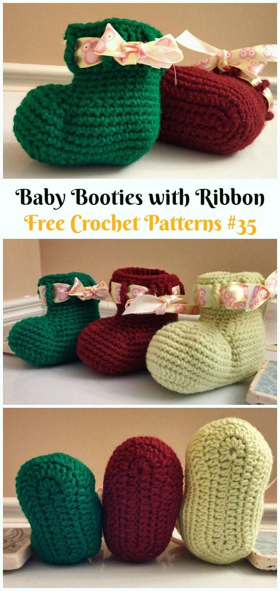 Baby Booties with RibbonCrochet Free Pattern - #Crochet; Ankle High Baby #Booties; Free Patterns