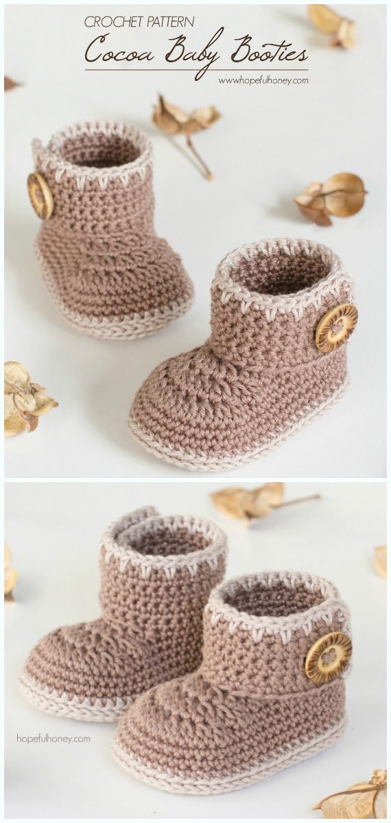 Cocoa Baby Ankle BootiesCrochet Free Pattern - #Crochet; Ankle High Baby #Booties; Free Patterns