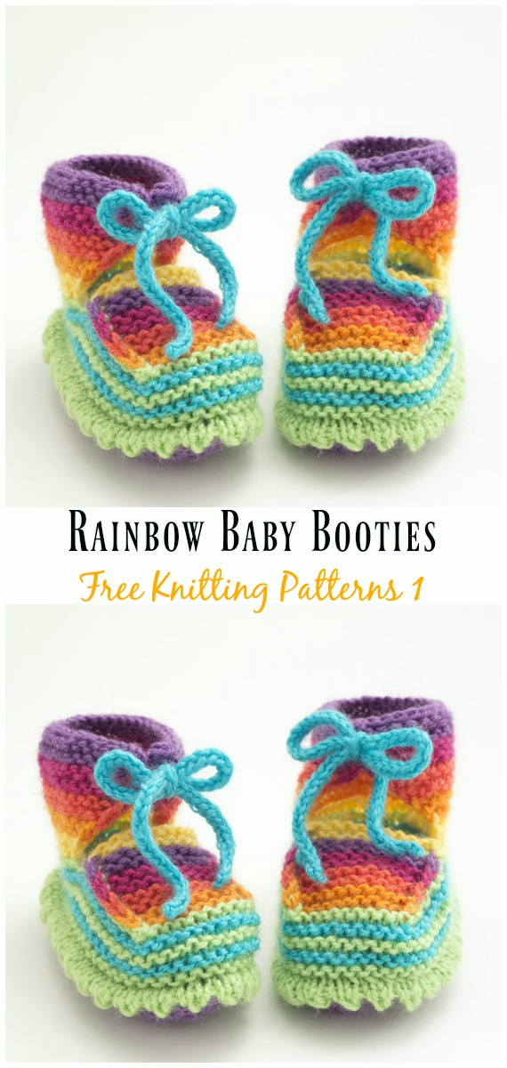 Rainbow Baby Booties Knitting Free Pattern - Ankle High Baby #Booties Free #Knitting Patterns