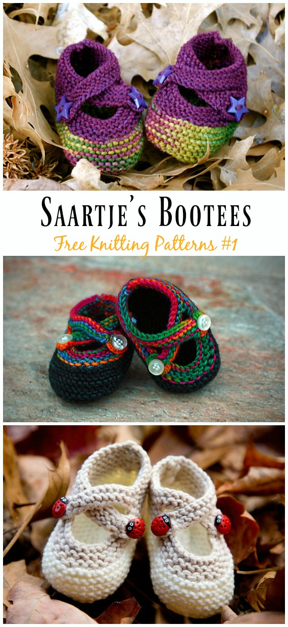Saartje's Bootees Knitting Free Pattern - Baby Slipper; #Booties; Free #Knitting; Patterns