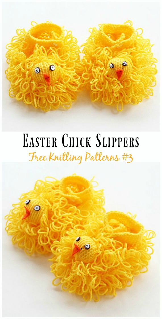 Easter Chick Slippers Baby Booties Knitting Free Pattern - Baby Slipper; #Booties; Free #Knitting; Patterns