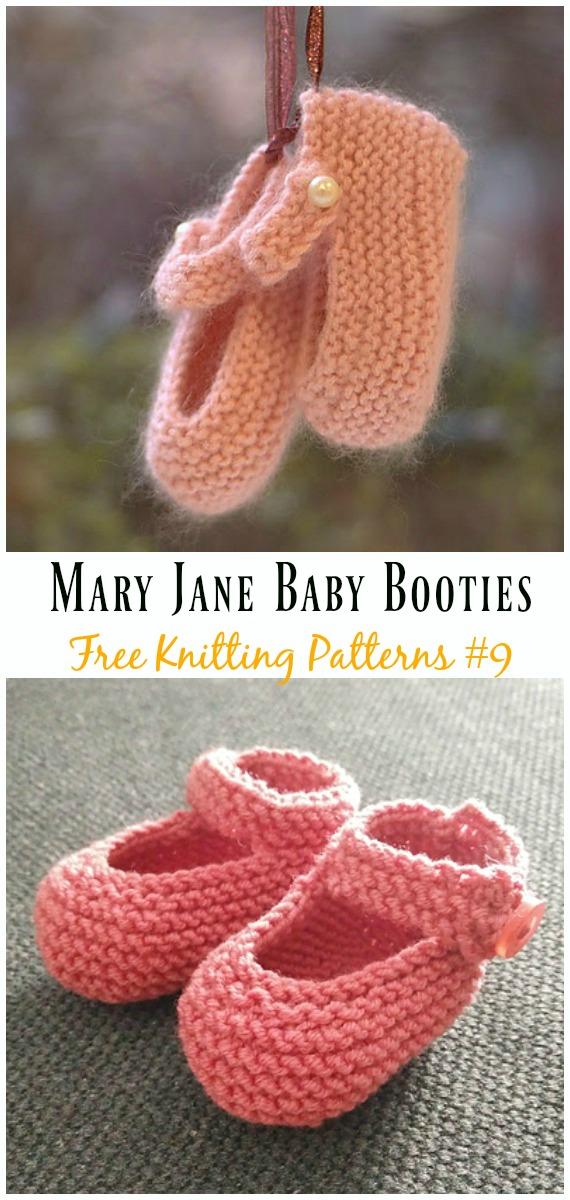 Mary Jane Baby Booties Knitting Free Pattern Baby Slipper