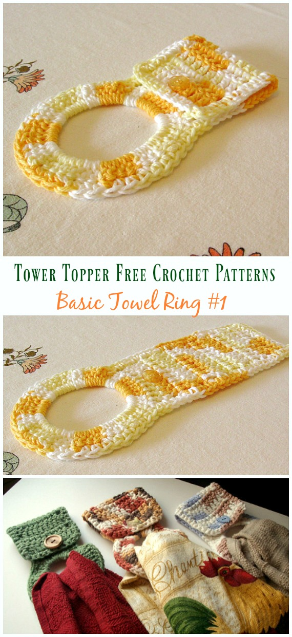 Basic Towel Ring Crochet Free Pattern - #Towel; Topper Free #Crochet; Patterns