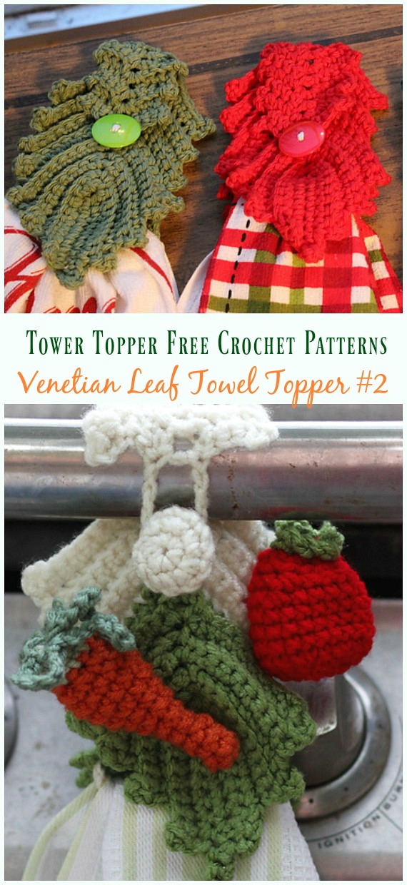 Venetian Leaf Towel Topper Crochet Free Pattern - #Towel; Topper Free #Crochet; Patterns