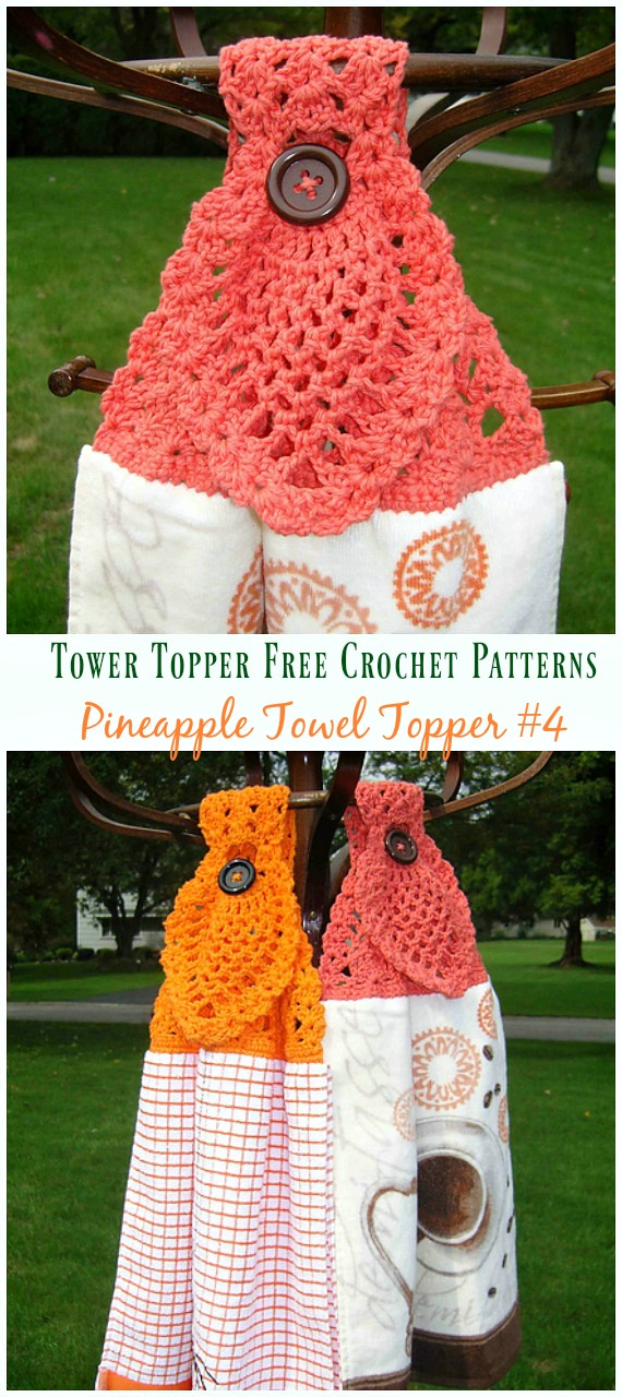 Pineapple Towel Topper Crochet Free Pattern - #Tower; Topper Free #Crochet; Patterns