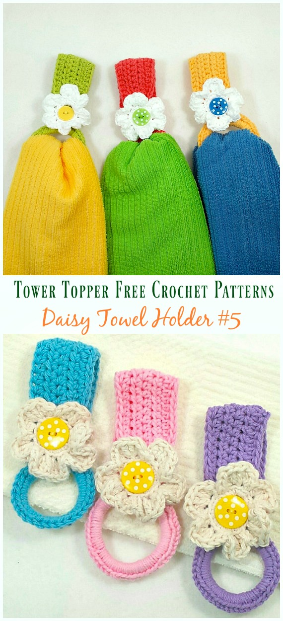 Daisy Towel Holder Crochet Free Pattern - #Towel; Topper Free #Crochet; Patterns