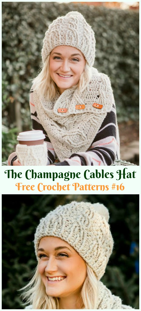 The Champagne Cables Hat Crochet Free Pattern Adult Cable Hat