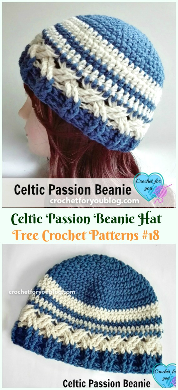 Celtic Passion Beanie Hat Crochet Free Pattern Adult Cable Hat