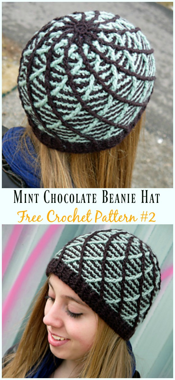 Mint Chocolate Beanie Hat Crochet Free Pattern - #Cabled; Beanie #Hat; Free Crochet Patterns