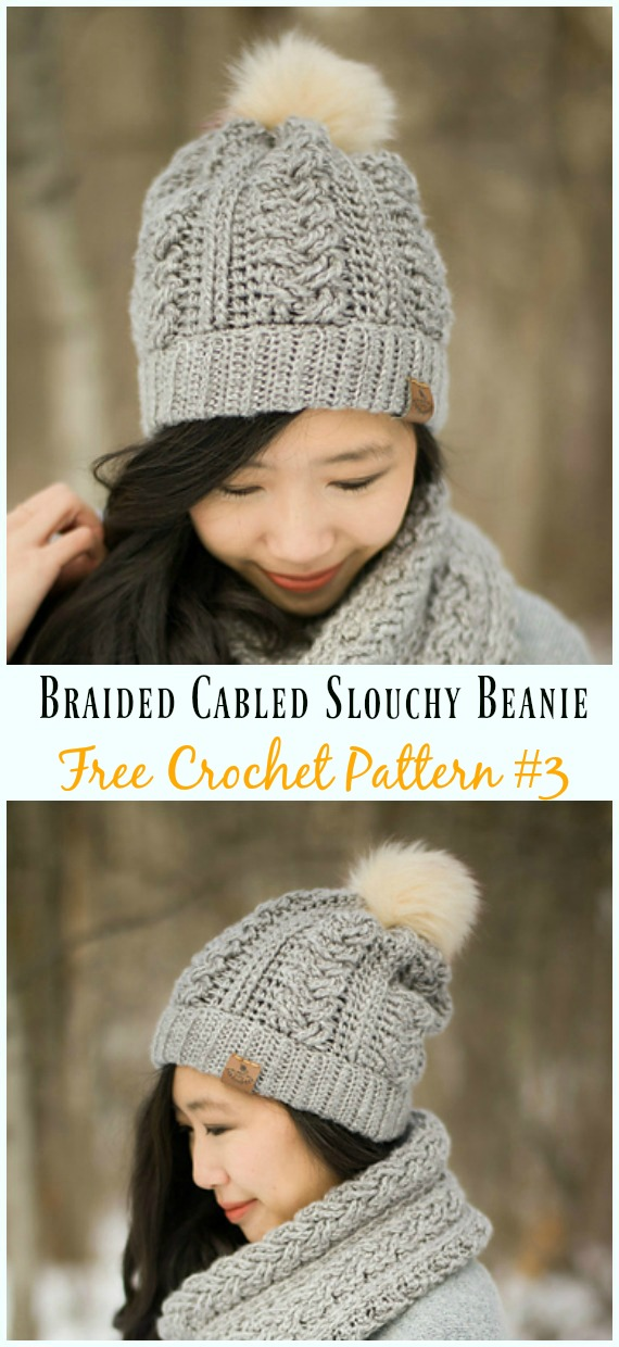 Braided Cabled Slouchy Beanie Hat Crochet Free Pattern - #Cabled; Beanie #Hat; Free Crochet Patterns