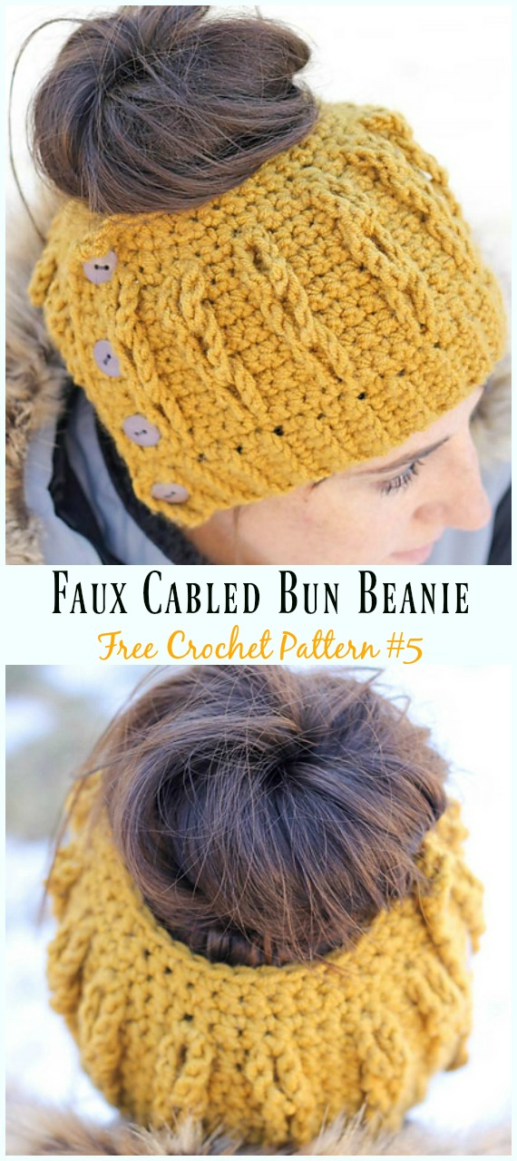 Faux Cabled Bun Beanie Hat Crochet Free Pattern - #Cabled; Beanie #Hat; Free Crochet Patterns